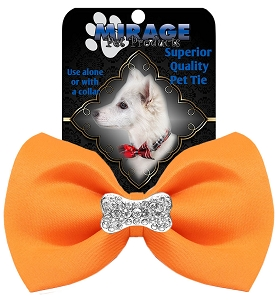 Crystal Bone Widget Pet Bowtie Orange